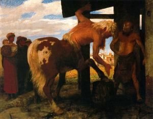 Arnold Böcklin - Centaur in the Village Blacksmith's Shop, 1888