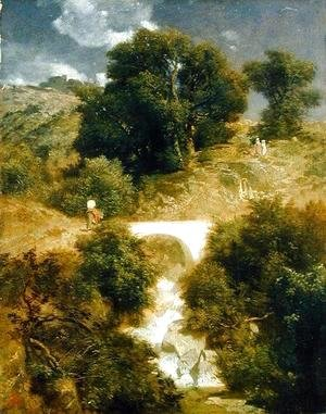 Arnold Böcklin - Roman Landscape with a Bridge, 1863