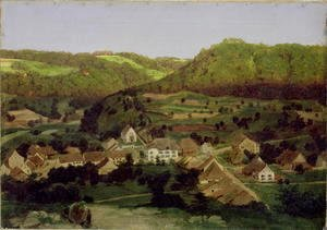 Arnold Böcklin - A View of the Village of Tenniken, 1846