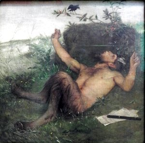 Arnold Böcklin - Faun Whistling to a Blackbird  1875