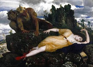 Arnold Böcklin - Sleeping Diana Watched by Two Fauns  1877