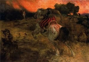 Arnold Böcklin - Astolphe fleeing with the head of Orrile