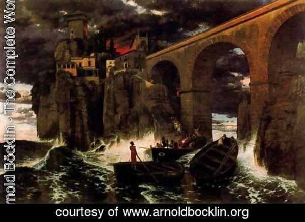Arnold Böcklin - Attack of the pirates