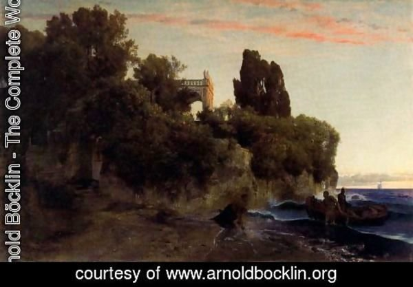 Arnold Böcklin - Castle by the sea (Murder in the park)