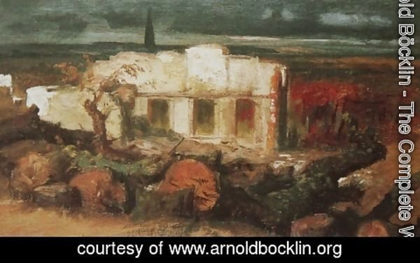 Arnold Böcklin - House destroyed nearly Kehl