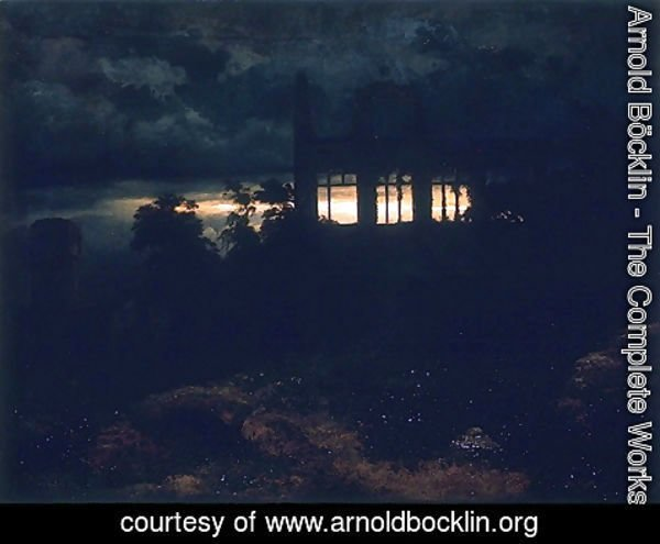 Arnold Böcklin - Landscape with a castle in ruins