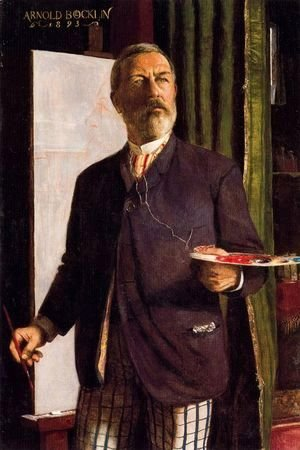 Arnold Böcklin - Self portrait in the studio