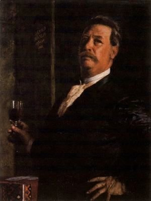 Arnold Böcklin - Self portrait with a glass of wine