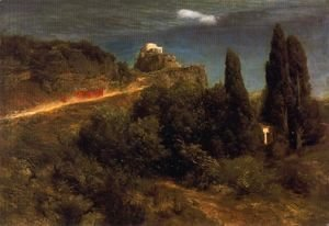 Arnold Böcklin - Soldiers amount to a mountain stronghold