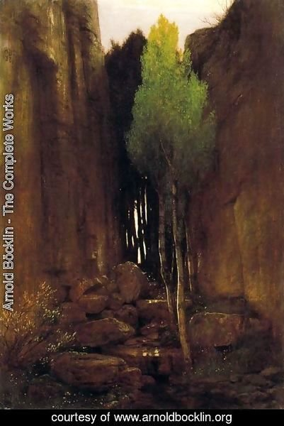 Arnold Böcklin - Source between two rock walls