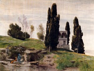 Arnold Böcklin - The rest during the flight to Egypt (left panel)