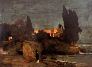 Arnold Böcklin - Villa on the seafront (first version)