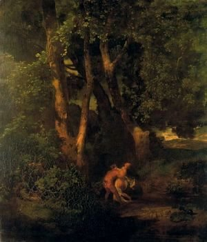 Arnold Böcklin - Wildlife and nymph on the edge of a forest
